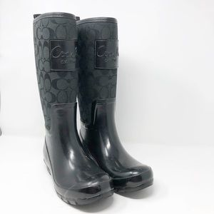 COACH Pearl Rain Boots Black Signature C Style 6B
